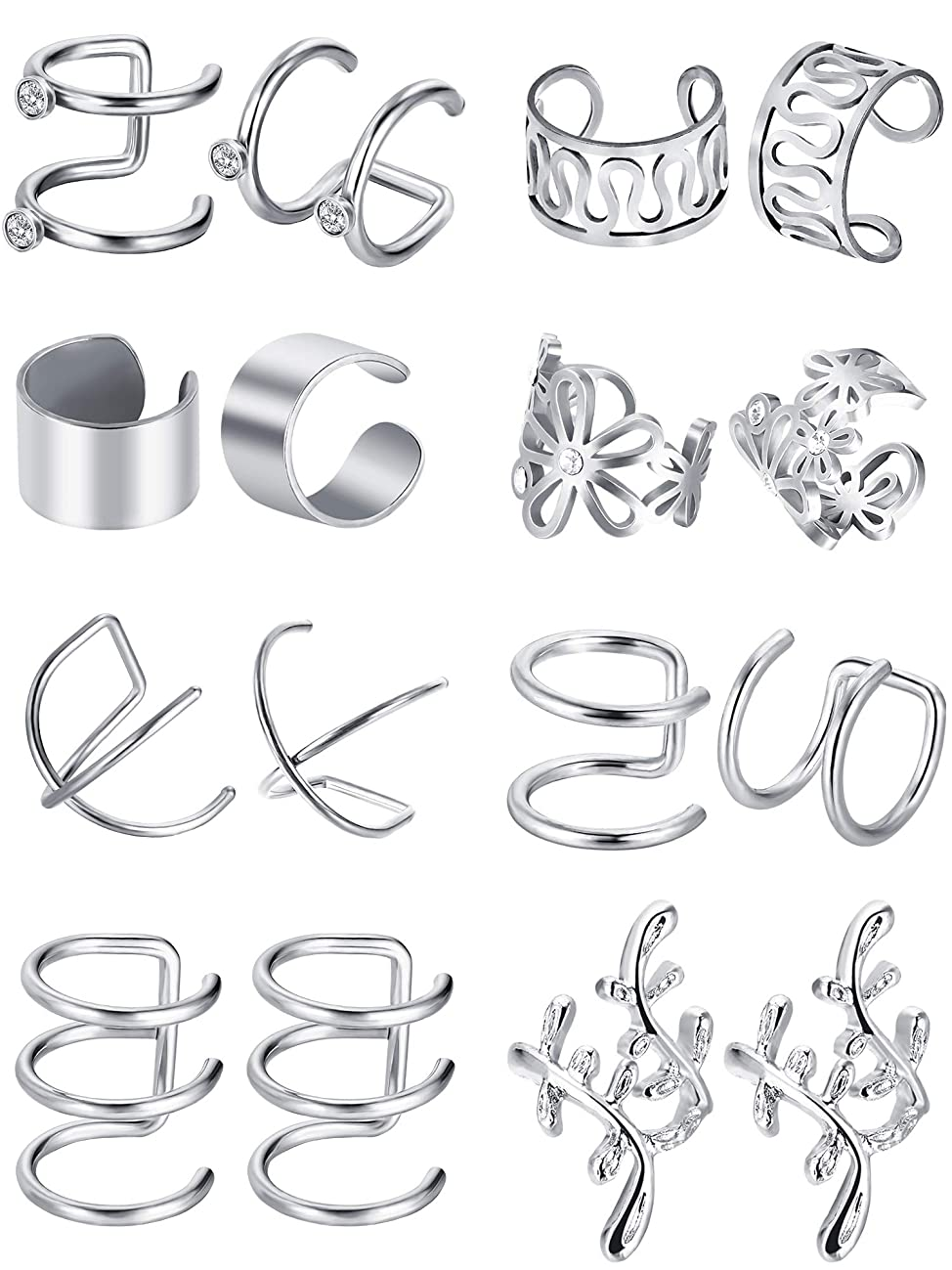 Blulu 8 Pairs Stainless Steel Ear Cuff Non Piercing Clip on Cartilage Earrings for Men Women, 8 Various Styles