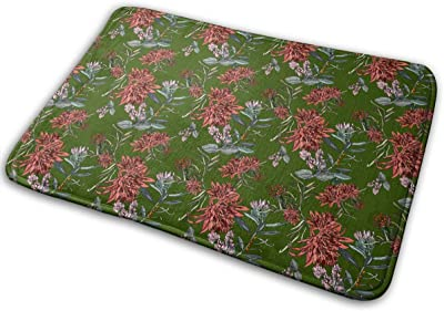 Beautiful Tropical Exotic Flowers and Leaves Carpet Non-Slip Welcome Front Doormat Entryway Carpet Washable Outdoor Indoor Mat Room Rug 15.7 X 23.6 inch