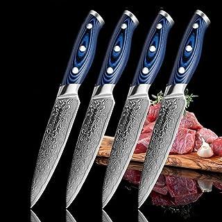 Steak Couteau Set 4 PCS Damas Couteaux de cuisine 67 Couches VG10 Japonais Damas Couteaux utilitaires en acier avec boîte-...
