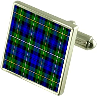 Select Gifts Tartan Clan Campbell Cufflinks in Engraved Personalised Case