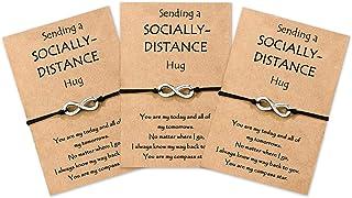 KINGSIN مسافة مطابقة سوار أفضل صديق أساور قابلة للتعديل للأزواج والصديق والصديقة والأم والابنة والأخوات 3 قطع