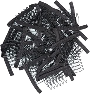 Stainless Steel 40 Pcs Tooth Comb Wrapped Wig Combs for Wig Caps Glueless Wig Clips (Black)