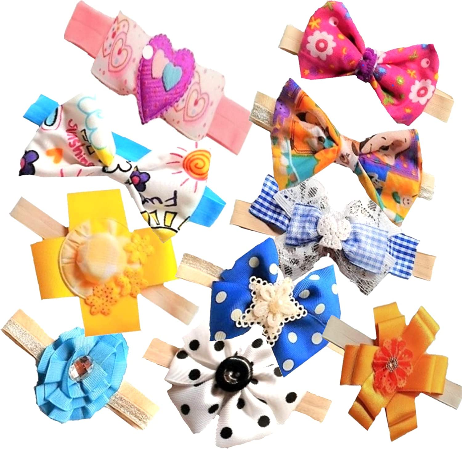Ragzel86 Baby Girl Soft Elastic Bows and Headbands, Newborn Infant Knotted