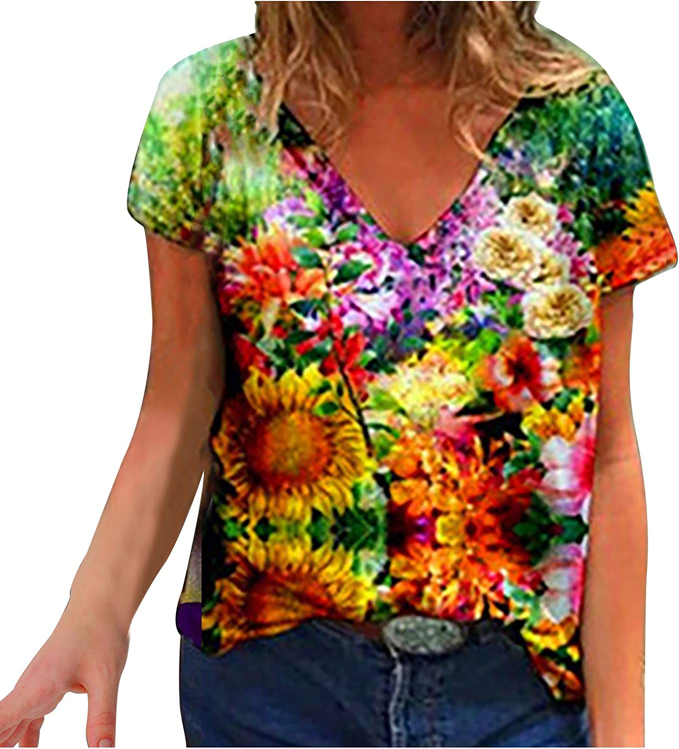 Women's Summer Short Sleeve Tunic Tops V Floral Pr Chicago Mall Colorful Neck Omaha Mall