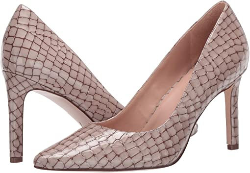Taupe Patent Croco Print Leather