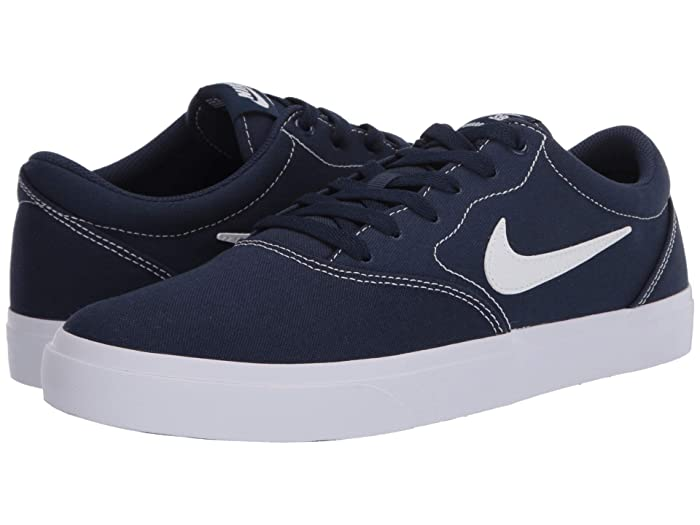 Nike SB Charge Solarsoft Canvas (Midnight Navy/White/Midnight Navy) Men's Shoes