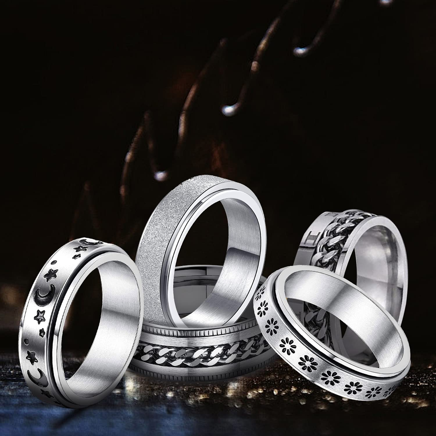 4pcs rings for men women wedding bands anti anciety fidget toy promise couple cute indie aesthetic jewelry stainless steel hippie matching rings set for adults teens couples