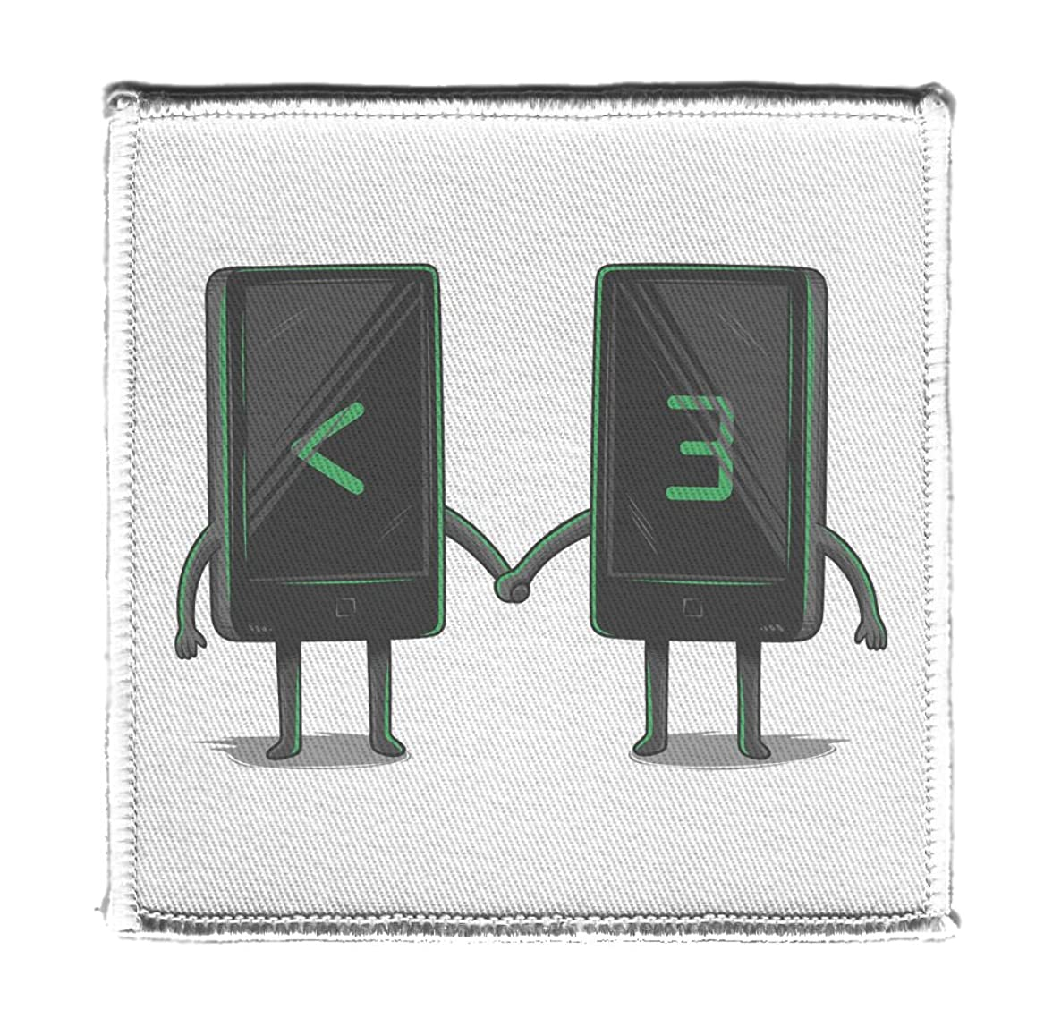 Digital Love - Iron on 4x4 inch Embroidered Edge Patch Applique