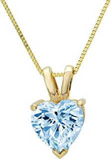 """0.55 ct Brilliant Heart Cut Aquamarine Blue Ideal Cubic Zirconia VVS1 D Solitaire Pendant Necklace With 16"""" Gold Chain box Birthstone Solid Real 14k Yellow Gold, Clara Pucci"""
