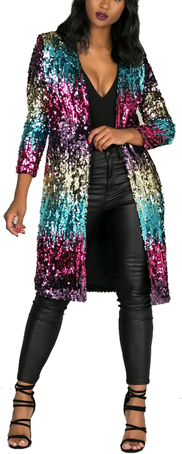 Womens Sparkly Multicolor Sequins Cover Ups Long Sleeve Slim Fit Open Front Cardigan Coat