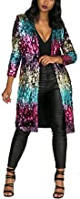 Women's Autumn Cover Up Long Sleeve Sequins Metallic Open Front Cardigan Coat