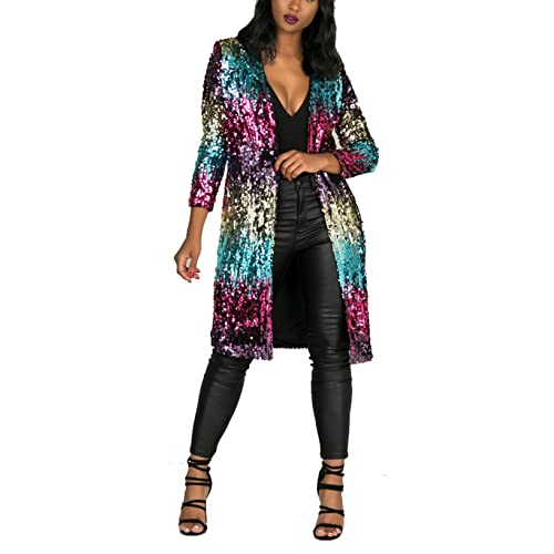 a2adbccf Women's Autumn Cover Up Long Sleeve Sequins Metallic Open Front Cardigan  Coat
