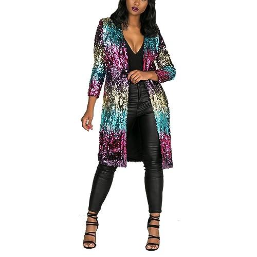 f887dbb09880 Women's Autumn Cover Up Long Sleeve Sequins Metallic Open Front Cardigan  Coat