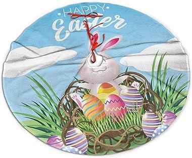 MJINSJIA-TS Magnifique jupe de sapin de Noël avec œufs de lapin joyeux Pâques pour décoration de fête de Noël accessoire cade