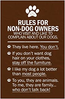 Dogs Rules for Non Dog Owners Laminated Dry Erase Sign Poster 12x18