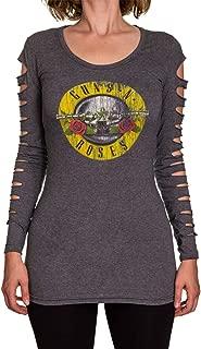 Guns N Roses Ladies Distressed Logo Long Sleeve Cover Up Cut Shirt