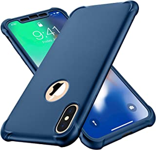 ORETECH iPhone Xs Max Case,with[2 x Tempered Glass Screen Protector] 360° Full Body Shockproof Protective Cover Anti Scratch Ultra-Thin Hard PC + Soft Rubber Silicone Case for iPhone Xs Max- Blue
