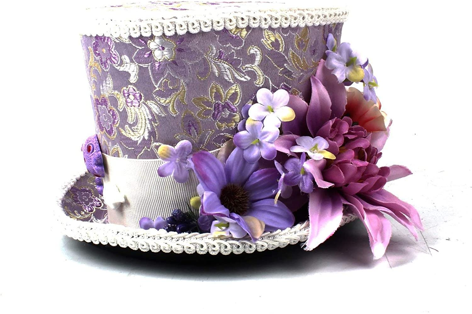 Fashion Warm Comfortable Hats for Women Kentucky Derby Mini Top Hat, Purple and Cream Flower Mini top hat, Alice in Wonderland, Mad Hatter Hat, Tea Party Wedding, Tea Party Hat