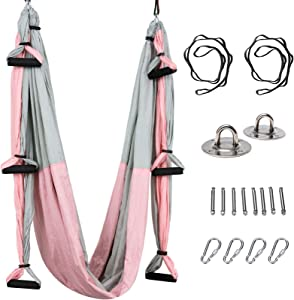 YOLEZI Aerial Yoga Swing Yoga Hammock Sling Inversion Tool with Extension Straps and Ceiling Anchors for Gym Home Fitness