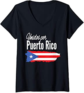 Womens Puerto Rico Se Levanta T-shirt - Unidos Por Puerto Rico V-Neck T-Shirt