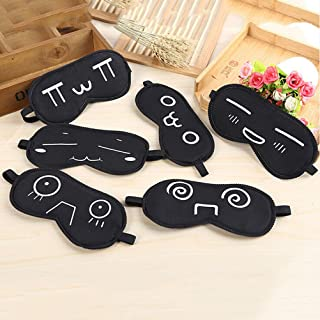 CosCosX 5 Pack Funny Expression Printing Sleep Mask Natural Cotton Cartoon Emoticon Eye Cover Patch Sleeping Shade Eyeshade Blinder for Kids Men Women Sleeping Blindfold Nap Shield