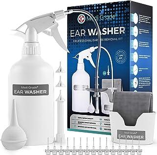 Medi Grade Kit Limpiador de Oídos Profesional - Sistema de Jeringa Oídos para Eliminar Cera con Acción Bomba 16 en 1 - Bomba Limpia Oídos Segura - Limpieza de oídos Eco-Friendly - Mejora la audición