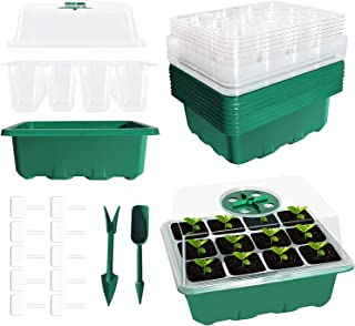 SEMNOZ Seed Starter Tray, 10 Sets Humidity Adjustable Plant Germination Trays for Greenhouse Garden, Plant Seedling Starte...
