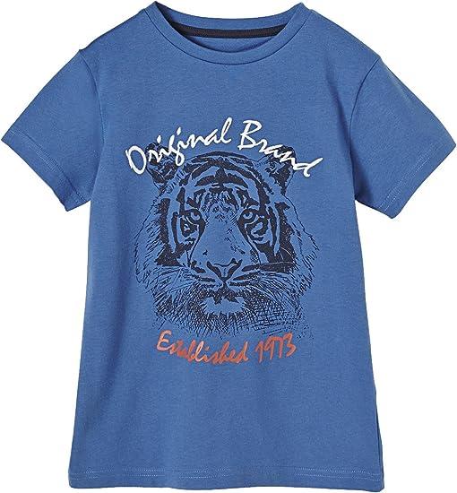 VERTBAUDET Camiseta niño Bordado león Azul Medio Liso con ...