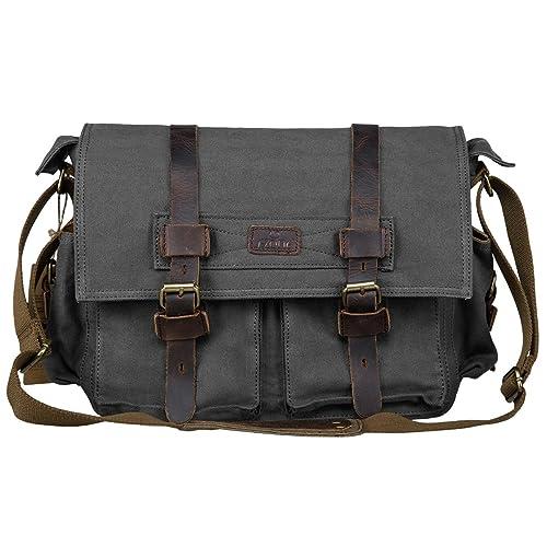 01d8a0070c07e0 S-ZONE Vintage Canvas Genuine Leather Trim DSLR SLR Camera Shoulder Messenger  Bag