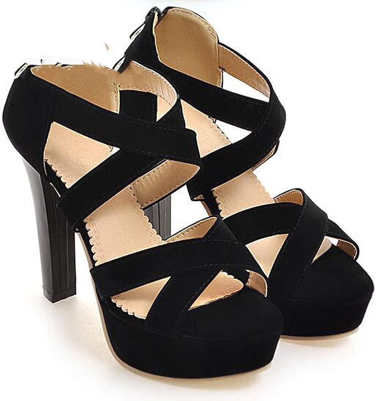 Summer New Size Sandals 11.5 cm Ultra High Heel Single shoes Zipper Waterproof Platform Roman Chunky Open Toe shoes