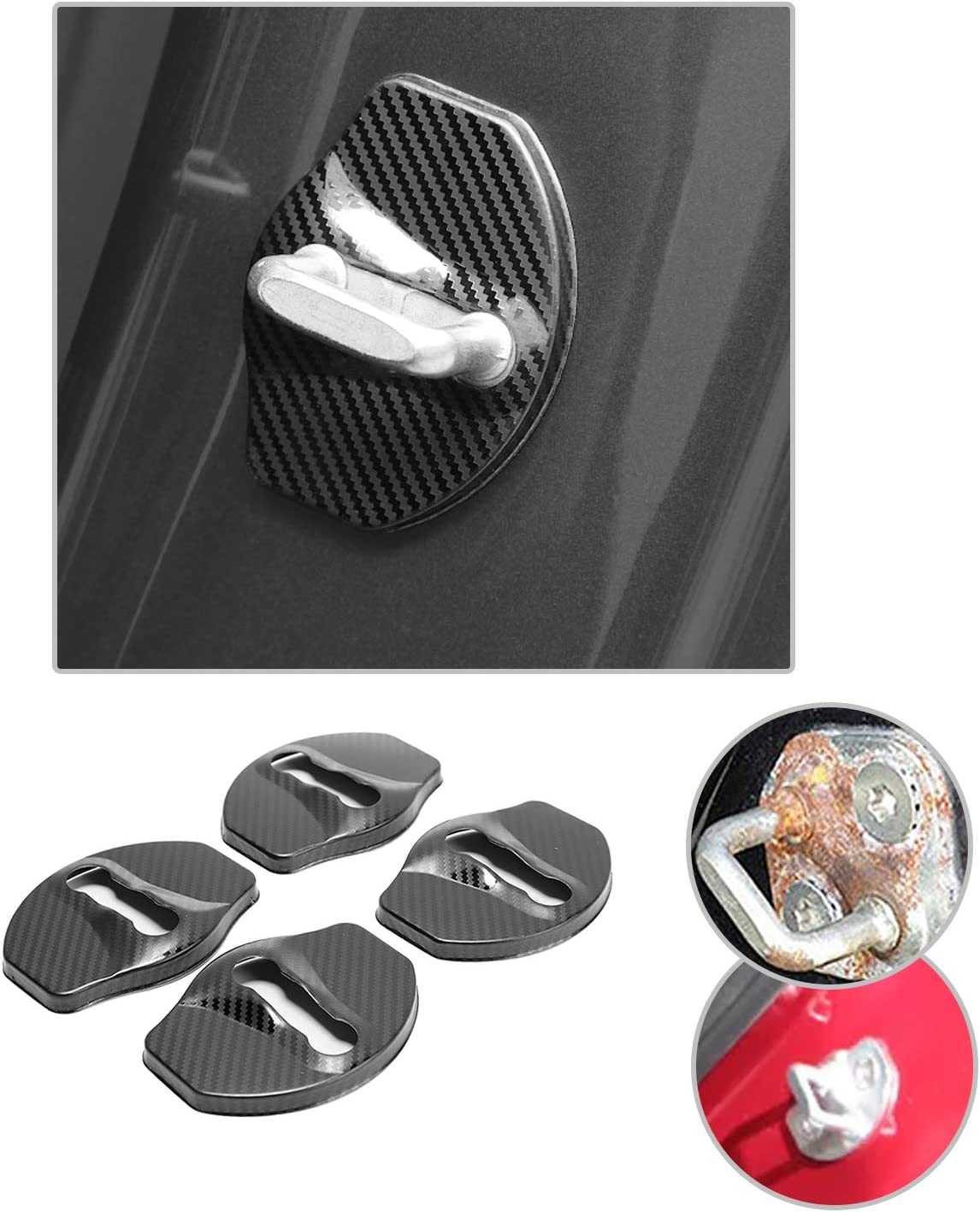 4 PCS Car Door Lock Cover for Tesla Model 3, Stainless/Steel Door Lock Striker Buckle Cap Protection/ CDEFG Blue