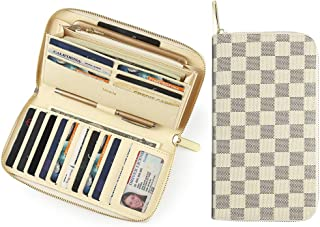 Miracle Large Capacity Checkered Zip Around Travel Wallet and Phone Clutch - RFID Blocking with Card Holder Organizer for Men Women (Cream)
