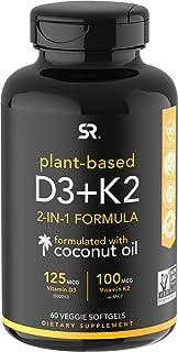 Vitamin D3 + K2 with Organic Virgin Coconut Oil | Plant-Based Vegan D3 (5000iu) with MK7 Vitamin...