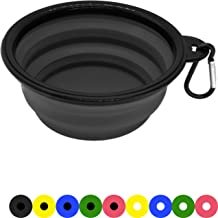 Zenify Dog Bowl - 400ml Collapsible Foldable Food and Water Feeder Dish - Portable Travel Leash Lead Slim Accessories for Training Pets Puppy Dogs (5 inches / 12.7 cm) (Black/Black)