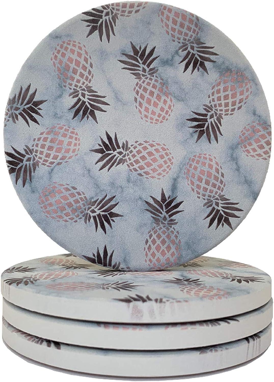 Elegant White Marble Rose Gold Pineapple Absorbent Ceramic Coaster for Drinks 4
