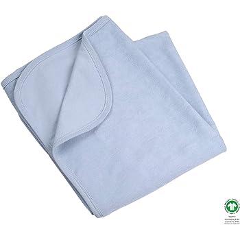 Feldman Organic - Manta para bebé, 100% algodón orgánico, 110 x 90 cm, ideal como manta, manta para cochecito de bebé, manta para bebés azul grisáceo Talla:110 cm: Amazon.es: Hogar