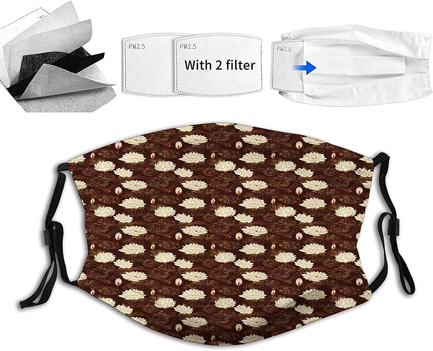 Comfortable Printed mask Water Lilies Season with Spring Selling Dragonf SEAL limited product