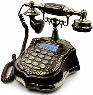 Corded Telephone antique phone European hotel answering machine home retro bench craft set answer machine (Resin, 242021.2CM) ( Color : Black )