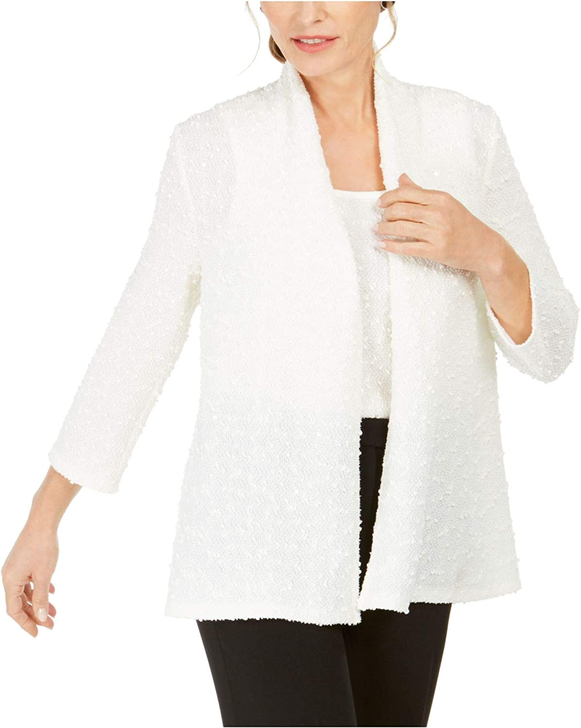Kasper Womens White Embroidered Textured 3/4 Sleeve Open Cardigan Evening Top Size PM