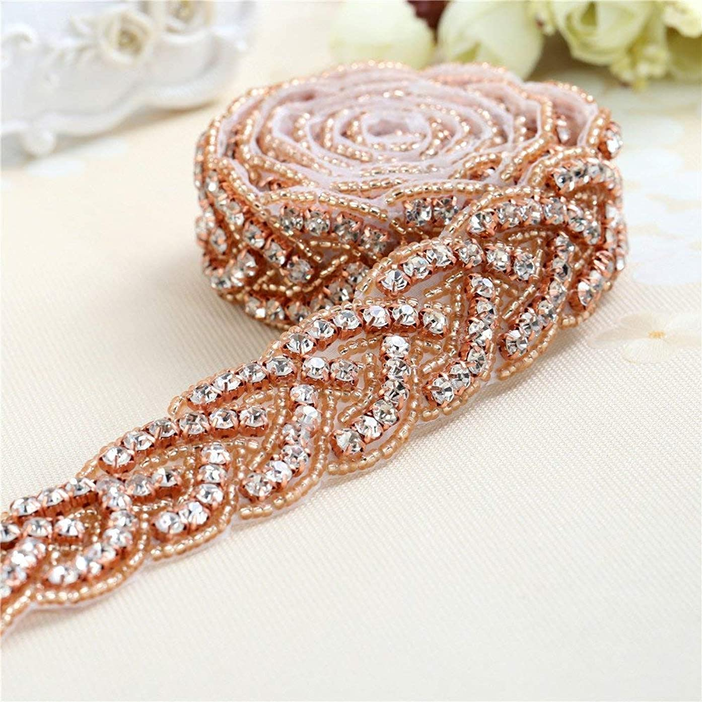 "Rose Gold Bridal Gown Sash Rhinestone Applique DIY Wedding Belt by Sewing or Ironing on -1 Piece(1""36""in)"
