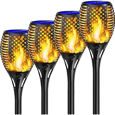 Shinmax Lumière Solaire de Torche,33LED Imperméable Lumière Solaire de Torche Auto On/Off (Licht Sensor)Danse Flamme Solaire Lumière,Exterieur Decoration Flamme Solaire PourJardin Patio【2021 édition】