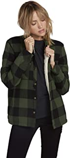 Women's Junior's Plaid About You Long Sleeve Sherpa Flannel