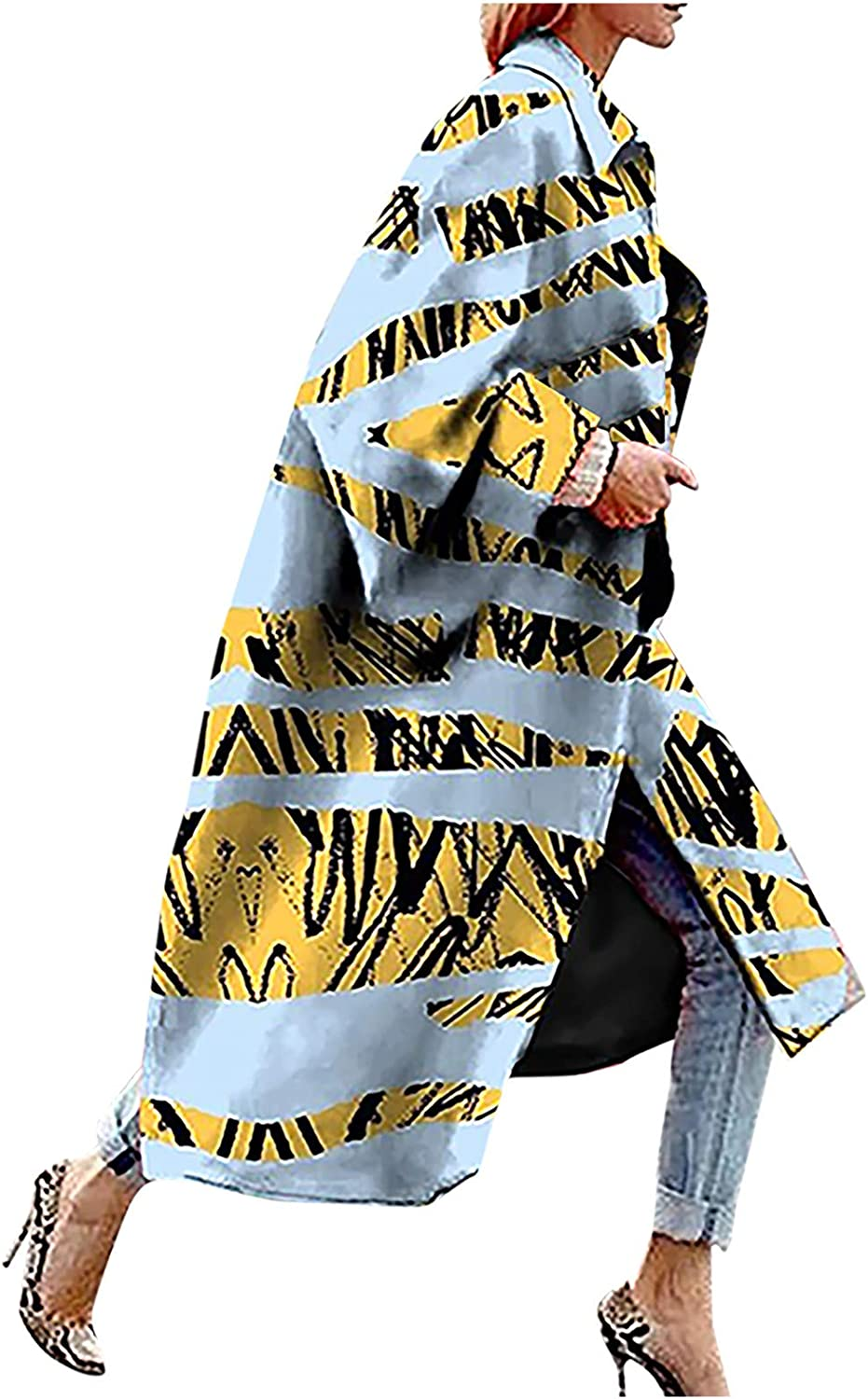 Women's Long Trench Coat Plus Size Fashion Color Block Printed Pocket Oversized Jacket Outerwear Cardigan Overcoat S-5XL