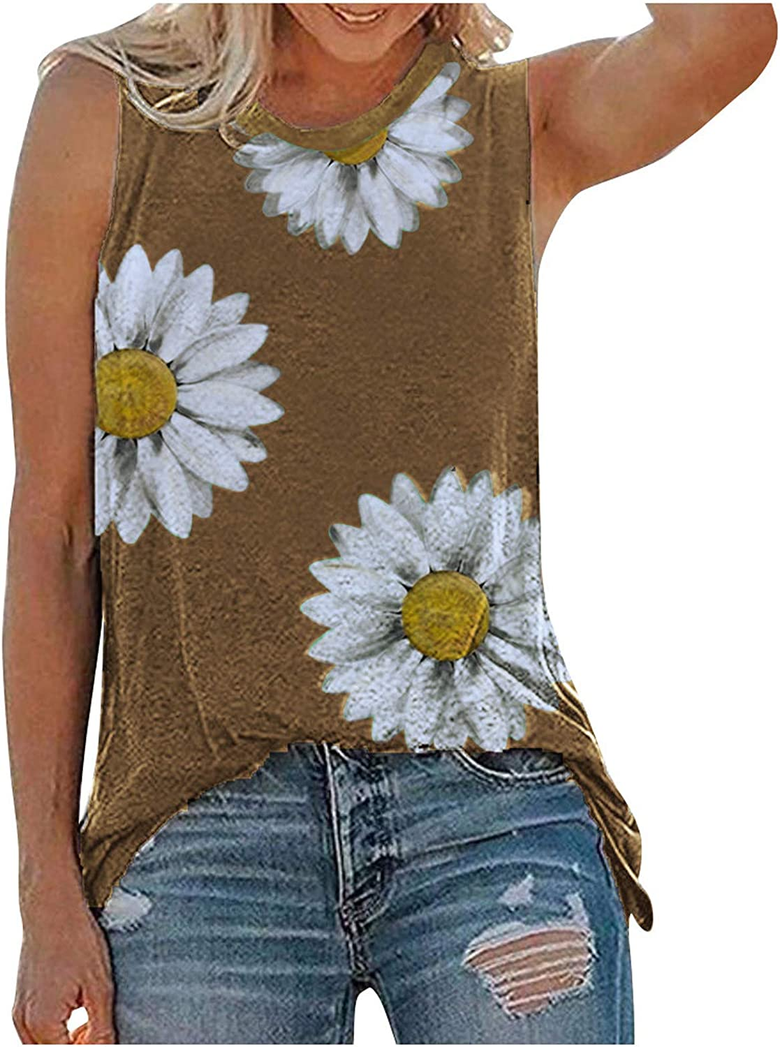 AODONG 4th of July Tank Tops for Women, Womens Summer Tops Casual Loose Fit Plus Size Daily Sunflower Printed Tee Shirts