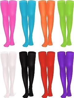 8 Pairs Women's Thigh High Nylon Stocking Opaque Thigh Stockings Halloween Cosplay Costume Party Accessory Nylon High Socks