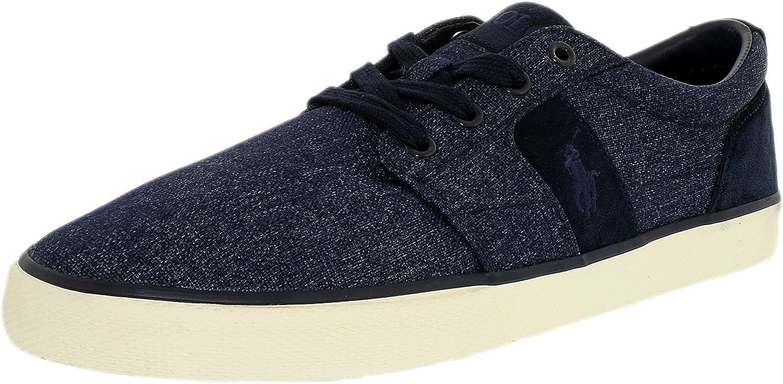 Polo Ralph Lauren Men's Halmore Nylon Suede Newport Navy Ankle-High Nylon Fashion Sneaker - 11M