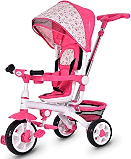 Kanizz Kids Stroller Steering Classic Tricycle Single Seat Canopy Foot Pedal Bell, Baby Push on Bike Public Park Outdoor Exercise Portable Cart Toddler Travel Seat System Compact Ride(Pink)