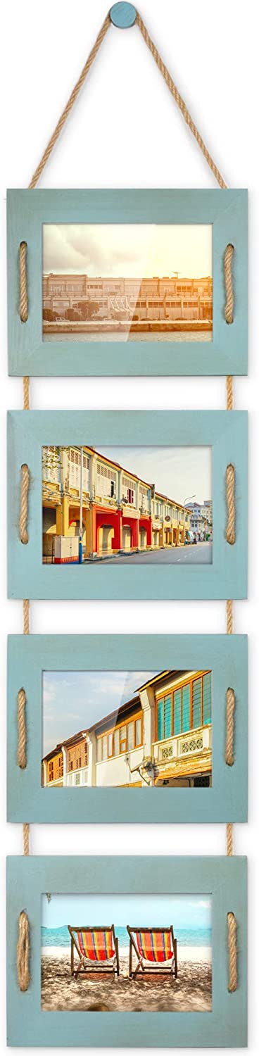 DLQuarts Hanging Picture Photo Frames 4-Frame Collage 5x7 Without Mat & 3.5x5 with Mat, Rustic Wood Ocean Blue