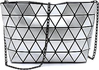 Geometric luminous purses and handbags shard lattice eco-friendly Leather handbag+crossbody+pouch 3pcs set