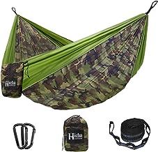 Hieha Portable Camping Hammock, Double & Single Travel Hammocks (2 Tree Straps 10 Loops/13 ft Included), Lightweight Nylon...